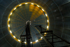 Access to the Mother Ship (paulquance) Tags: roof light london eye ship space gas ladder battersea holder gasometer