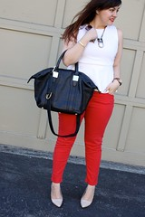 Red Hot (triplyksis) Tags: red white black sunglasses gold chloe jeans bebe lipstick aldo tote zara patent nars dailyoutfit peplum rachelzoe jewelmint poshmark