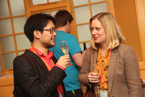 Neil Chue Hong and MC Lagan at a pre-awards drinks reception