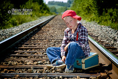 The Runaway (Brian Morin Photography) Tags: boy portrait canada train lost kid child tracks attitude newbrunswick angry mad runaway drummond