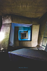 What do YOU feel? (* MauriceEtoile.com) Tags: blue abstract black tower stairs square concrete gold high availablelight magic fineart grain dramatic outlook sight oben innerpeace beton hoch wayup longexpore