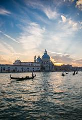 Sunset over the Basilique Santa Maria della Salute in Venice (lucien_muller) Tags: venice sunset italy canon italia cloudy gondola venise venezia italie venetia gondolier santamariadellasalute markiii canon5dmarkiii 5dmarkiii