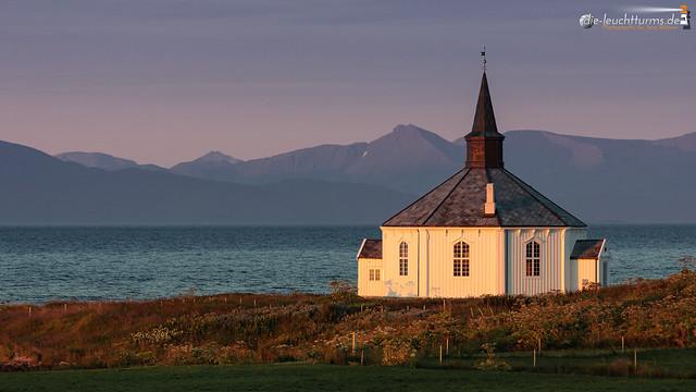 Dverberg chapel in morning sun