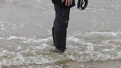 P1060333 (willi2qwert) Tags: black beach wet water girl strand women wasser boots wave trousers wellies watt rubberboots gummistiefel wellingtons gumboots raingear nass rainboots rainpants regenstiefel