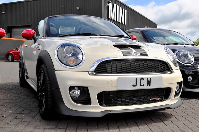 white black up john outside soft looking top stripes wheels convertible mini cooper showroom works parked bonnet carlisle sporty alloy jcw kingstown