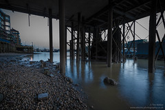 Under the Royal Navy pier No. 1 (electricfoto) Tags: city england urban london thames towerbridge river nightscape unitedkingdom dusk riverthames southwark wapping foreshore