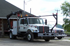 CP International 7300 4 door crew cab knuckle boom crane truck and L07113 Chevrolet 2500 hi-rail HD Woodstock, Ontario Canada 07202007 ©Ian A. McCord (ocrr4204) Tags: white ontario canada truck kodak camion mow vehicle pointandshoot mccord woodstock blanc z740 maintenanceofway ianmccord ianamccord