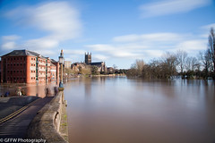Flooded Worcester - Colour (GFFW PHOTOGRAPHY) Tags: water river flooding long exposure cathedral flood smooth severn worcestershire floods worcester 2014