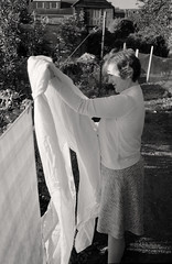 Ida Cornick hanging up the clean clothing, c.1982 (Jerome Cornick) Tags: cam gloucestershire washing clothsline dursley idacornick 22rowley