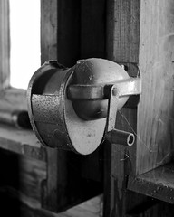 Sharpener (tim.perdue) Tags: wood old light shadow bw white house black abandoned window monochrome farmhouse neglect rural pencil rust decay empty beam vacant sharpener