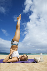 People (iconicphotoservices) Tags: people woman color beach vertical yoga female outdoors hawaii coast unitedstates exercise body fulllength lifestyle maui mat health blond photograph shore tropical leisure balance recreation workout fitness youngadult fit physical invert caucasian onepersononly physicalfitness 2025years