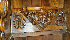 Farmer, cow & 3 Achers (PeakStones) Tags: derbyshire carving bakewell allsaints woodcarving greenman derbyshiredales misericord mercyseat