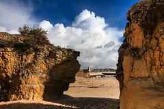 IN BETWEEN (Rober1000x) Tags: sea beach portugal clouds faro rocks europa europe fort lagos algarve 2014