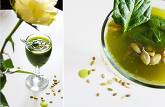 (100% raw) vegan Green spinach diptych (tarengil) Tags: food green breakfast pepper vegan raw juice pomegranate vegetarian smoothie spinach juicer kuvings