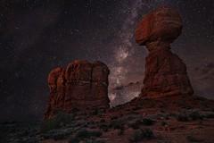 Balanced Rock & The Milky Way (Jerry T Patterson) Tags: longexposure southwest monument anp hour moabut canyonlands moab bryce zion archesnationalpark milkyway moabutah znp valleytourphoto toursunrisesunsetblue