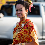 Thai People in Traditional Dress Waiting to Join the Chiang Mai Flower Festival Parade 98 thumbnail