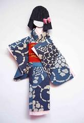 Japanese origami doll 6 (tengds) Tags: pink flowers blue red asian japanese indigo bow kimono obi papercraft japanesepaper washi ningyo handmadepaper chiyogami asiandoll japanesepaperdoll nailsticker washidoll origamidoll nailartsticker tengds indigowashi