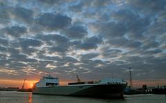 Peregrine (Longreach - Jonathan McDonnell) Tags: sunset sky clouds peregrine dublinport justclouds dsc3233 cobelfretferries cldn
