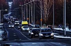 Viikintie (ri Sa) Tags: street trees winter snow cars lamp finland helsinki posts viikki viikintie