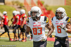 Maryland_White_on_Red_20160416_0376.jpg (hillels) Tags: park game college sports field sport photography one football spring team dj outdoor stadium maryland capitol practice terps byrd durkin collegepark testudo byrdstadium terp capitolonefield djdurkin