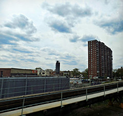 High Rise (Robert S. Photography) Tags: newyork brooklyn clouds train subway coneyisland nikon apartment may shapes coolpix elevated 2016 iso80 l340