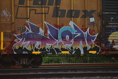 VILEN (TheGraffitiHunters) Tags: street pink blue cactus sky white black art yellow train graffiti colorful paint purple desert tracks spray boxcar freight benched benching vilen