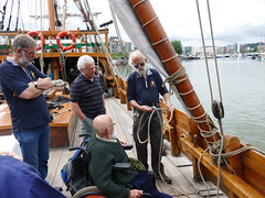 learning the ropes (forkcandles) Tags: ship matthew timber wheelchair rope reef visitor masts knots bends hitches cityandcountyofbristol fz1000 forkcandles thematthewtrust medievalshipjohncabot fz1000panasoniccamera