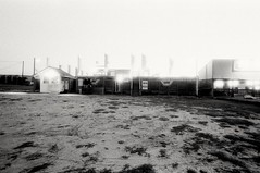 Maze (F. Neil S.) Tags: film beach night zeiss 35mm blackwhite noir negative maze amusementpark contaxaria selfdev bwfp