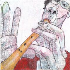 # 171 (19-06-2016) (h e r m a n) Tags: herman illustratie tekening bock oosterhout zwembad 10x10cm 3651tekenevent tegeltje drawing illustration karton carton cardboard muziek music musica muzika flute fluit blokfluit fluteplayer fluitspeler