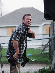 Wild Detectives (BurlapZack) Tags: portrait fence backyard photographer cigarette candid smoke meta cig grizzled photog smokebreak dallastx pack01 oakclifftx wilddetectives olympusmzuiko45mmf18 vscofilm olympusomdem5markii