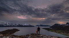 Northern-Norway (tryggstrand) Tags: ocean travel sunset sea sky people mountain snow man mountains color nature water norway night clouds landscape landscapes spring nikon flickr view cloudy hiking explorer visit human d750 fjord tamron midnightsun troms 500px instagram nikond750