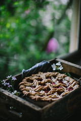 Golden Syrup Peach Pie by Eva Kosmas Flores   Adventures in Cooking (Eva Kosmas Flores) Tags: summer pie crust dessert spring berry pattern top peach howto pastry raspberry lattice braided