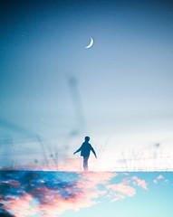 From dusk till dawn (jonatan.egholm.keis) Tags: blue light boy sunset shadow sky moon nature night stars evening horizon adventure silhuette