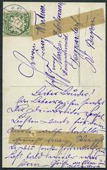 Archiv G052 Karte (back), von Mnchen nach Deggendorf, Poststempel vom 2. Februar 1911 (Hans-Michael Tappen) Tags: mnchen bayern stamps text 1910s 1911 postkarte handschrift briefmarke deggendorf poststempel 1910er archivhansmichaeltappen