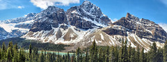 Bow Lake & Crowfoot Glacier, Banff National Park, Alberta, Canada - ICE(5)398-411 (photos by Bob V) Tags: panorama mountains rockies alberta banff rockymountains mountainlake albertacanada banffnationalpark bowlake canadianrockies crowfootglacier banffpark mountainpanorama