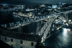 Porto. (Nelson Loureno) Tags: art landscape blue bridge contrast douro garden house me music night noite old ponte pool porto rio river serene silence street vacation water white vilanovadegaia portugal pt