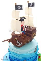 Pirate Ship (Little Cottage Cupcakes) Tags: birthday blue cake canon ship pirate crocodile sail sharks pirateship fondant piratecake pirateshipcake sugarpaste skullsandcrossbones littlecottagecupcakes