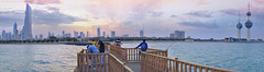 Sunset (khalid almasoud) Tags: city bridge sunset sea urban panorama colors landscape evening flickr sony towers estrellas kuwait خالد تصوير الكويت منظر photographyrocks سوني المسعود 1650mm sonya5100 ilce5100