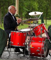 The Drummer. (Barry Miller _ Bazz) Tags: man drums drummer bandstand brassband 70200mmf4l canonlens greenalls canon5dmark2 victoriaparkwidnescheshire