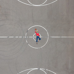 Half-Court Shot (J Trav) Tags: dottiethedrone drone phantom4 venice california basketball halfcourtshot orange woman centercourt portrait square 500x500