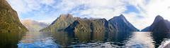 Around the Sound (Pat Charles) Tags: milfordsound newzealand nz fiord fjord fiordland fjordland tasman sea ocean water mountains panorama pano nikon milford sound mitre peak alps