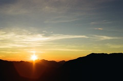 Sunrise (klolam) Tags: travel light sun mountain film colors sunrise 35mm photography golden photo pentax kodak taiwan hike flare analogue pentaxmesuper kodakfilm colorplus