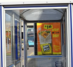 Fairfax Street Bus Stop (Coventry Sports Centre) (paulburr73) Tags: 4692 coventry gemini wrightbus wright eclipse nxc nationalexpress nxwm westmidlands busstop busshelter 2016 june midlands bus doubledecker advert advertisement