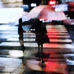 the zebra wore red (tabiwallah) Tags: street longexposure rain night umbrella square tokyo mood squareformat slowshutter iphone yanaka iphoneography