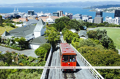Old Cable Car - Wellington, NZ (Naomi Rahim (thanks for 2 million hits)) Tags: wellington newzealand nz northisland travel travelphotography nikon nikond7000 city wanderlust cablecar red vintage transport summer water mountain hill trees landscape