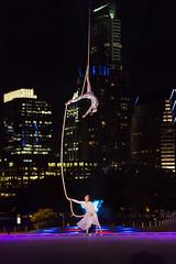 Aerial Dance (Steve Wampler Photography) Tags: city blue light night austin dance performance aerial lapis longcenter