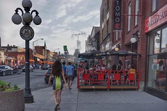 Byward Market air-conditioning (beyondhue) Tags: byward market york street people restaurant hot sunny umbrella patio bar mist air conditioning beyondhue ottawa ontario canada sidewalk