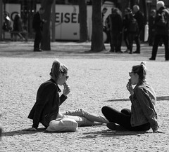Girls love ice cream (Dutch_Chewbacca) Tags: life street city girls people bw netherlands canon eos women candid citylife sigma streetlife denbosch brabant noordbrabant urband duketown