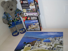 Day 5...Well done me! (pefkosmad) Tags: bear blue vacation white holiday ted church buildings toy island vacances stuffed soft teddy fluffy hobby plush puzzle santorini greece leisure jigsaw greekislands griechenland cyclades pastime 1000pieces worldssmallest tedricstudmuffin cheatwellgames