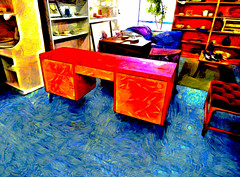 The Oxfam Shop (Steve Taylor (Photography)) Tags: blue red newzealand orange plant black art texture coffee strange yellow shop digital table weird chair bright cabinet seat picture vivid nelson dressing odd pots nz mauve southisland colourful mad shelving dresser shelves lino knickknacks oxfam